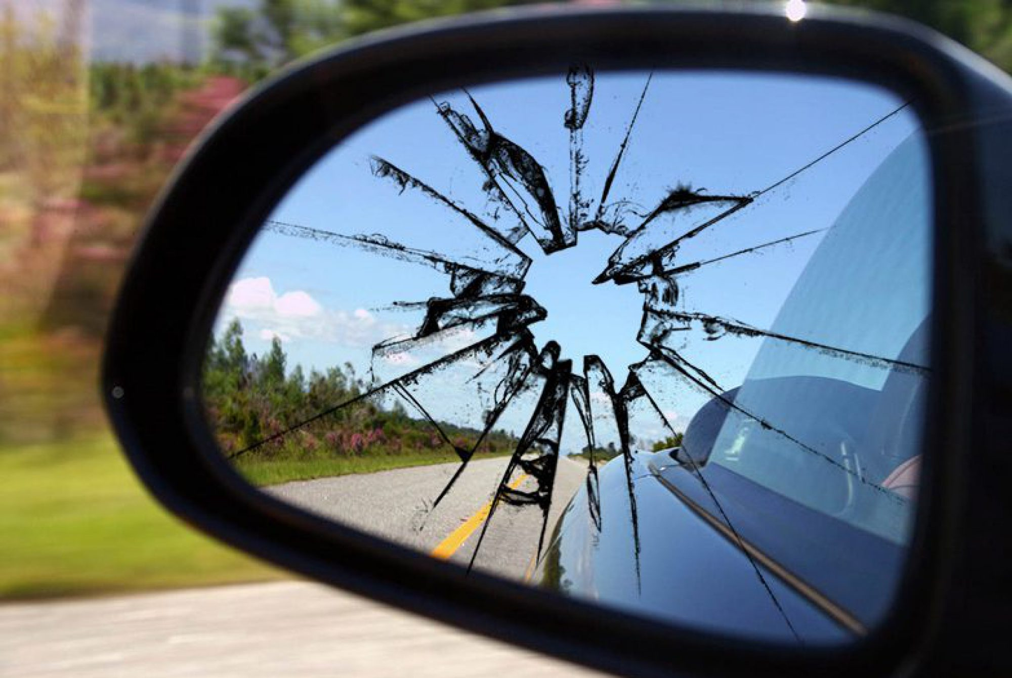 cracked rear viewer